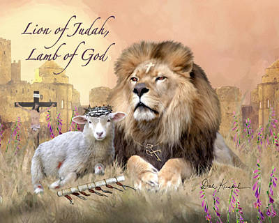 Lion Of Judah Painting - Lion Of Judah Lamb Of God by Dale Kunkel Art