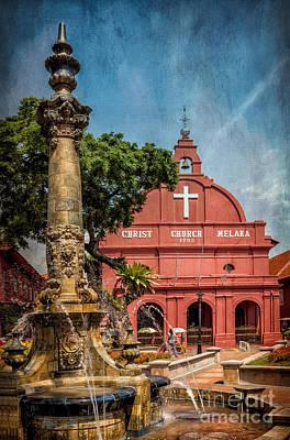Red Cross Digital Art - Christ Church Malacca by Adrian Evans