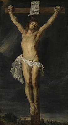 With Prayer Painting - Christ Crucified by Peter Paul Rubens