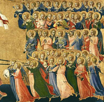 Christ Glorified In The Court Of Heaven, Detail Of Musical Angels From The Right Hand Side, 1419-35 Print by Fra Angelico