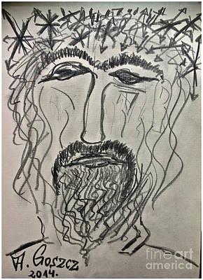 Christ In Distress. Pensive Christ. Chrystus Frasobliwy. By Andrzej Goszcz. Print by  Andrzej Goszcz