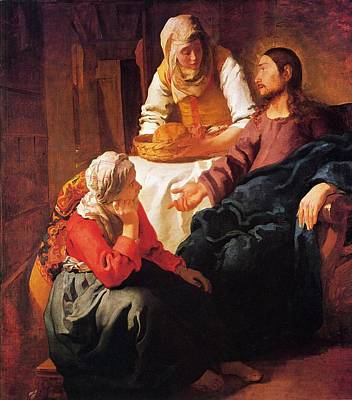 Martha Mary Painting - Christ In The House Of Mary And Martha by Johannes Vermeer