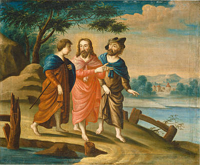 Christ On The Road To Emmaus Print by Celestial Images