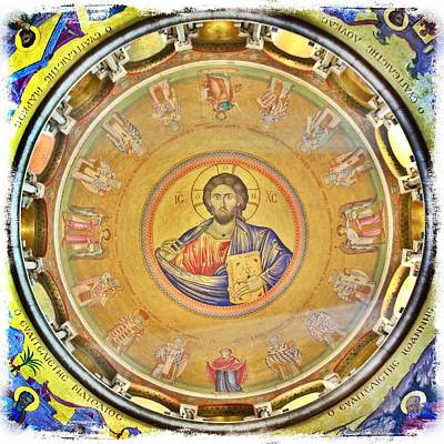 Orthodox Byzantine Icons Photograph - Christ Pantocrator -- Church Of The Holy Sepulchre by Stephen Stookey