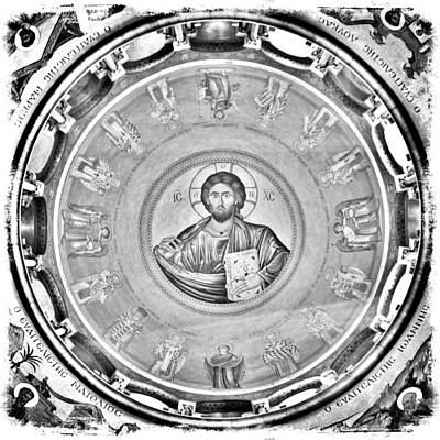 Christ Pantocrator In Black And White -- Church Of The Holy Sepulchre Print by Stephen Stookey