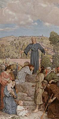 Christ Preaching Print by Hans Thoma