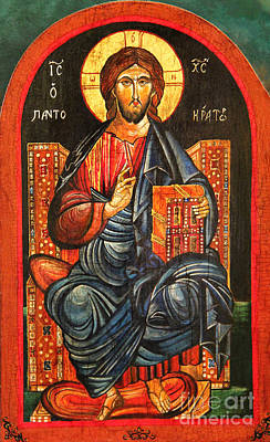 Byzantine Icon Painting - Christ The Pantocrator Icon IIi by Ryszard Sleczka