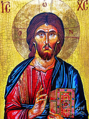 Byzantine Icon Painting - Christ The Pantocrator Icon by Ryszard Sleczka