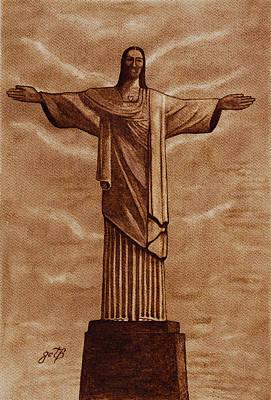 Christ The Redeemer Statue Original Coffee Painting Original by Georgeta Blanaru