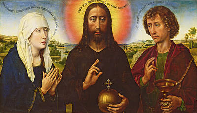 Orb Painting - Christ The Redeemer With The Virgin And St. John The Evangelist, Central Panel From The Triptych by Rogier van der Weyden