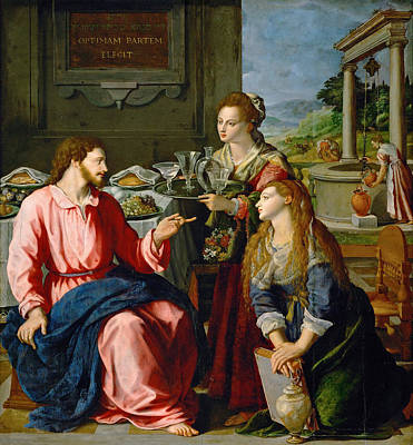 Martha Mary Painting - Christ With Mary And Martha by Alessandro Allori