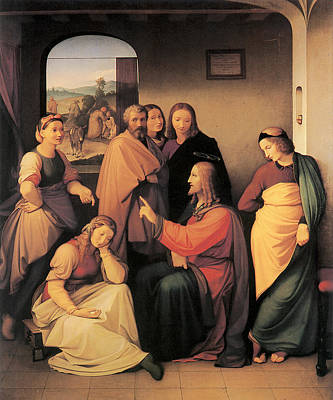 Martha Mary Painting - Christ With Mary And Martha by Johann Friedrich Overbeck