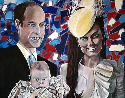 Kate Middleton Painting - Christened Prince George by Mickton Wellbee