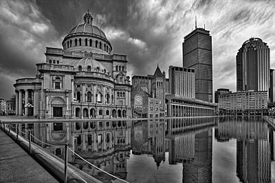 Dawn Photograph - Christian Science Center Boston Bw by Susan Candelario