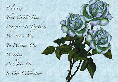 Christian Wedding Invitation With Roses Print by Joyce Geleynse