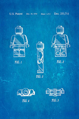Danish Photograph - Christiansen Lego Figure 2 Patent Art 1979 Blueprint by Ian Monk