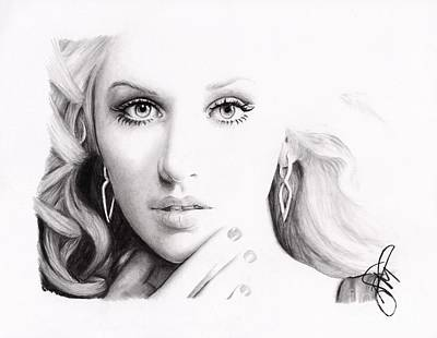 Markle Drawing - Christina Aguilera 2 by Rosalinda Markle