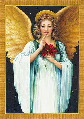 Poinsettia Painting - Christmas Angel by Lynn Bywaters