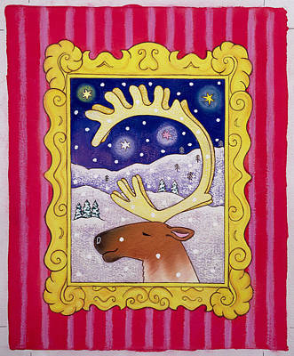 Christmas Antlers, 1996 Pastel And Gouache On Paper Print by Cathy Baxter