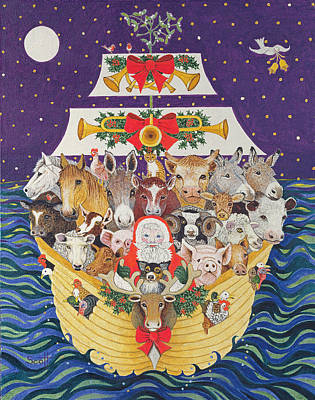 Cow Drawing - Christmas Arrival  by Pat Scott