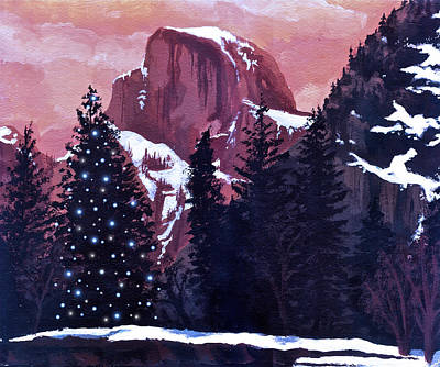 Half Dome Painting - Christmas At Half Dome by Sara Coolidge