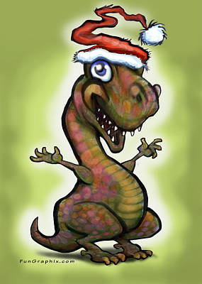 T-rex Painting - Christmas Baby T-rex by Kevin Middleton