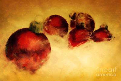Sphere Painting - Christmas Balls Artistic Vintage Painting by Michal Bednarek