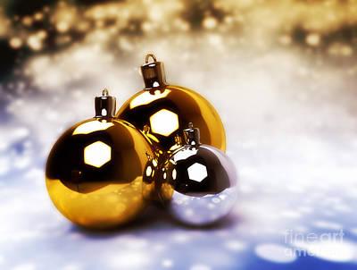 Horizontal Photograph - Christmas Balls Gold Silver by Michal Bednarek