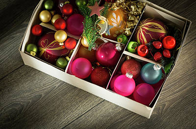 Bright Colours Photograph - Christmas Baubles In A Box by Wladimir Bulgar