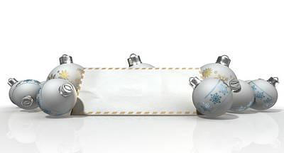 Christmas Baubles With Seasons Greetings Print by Allan Swart