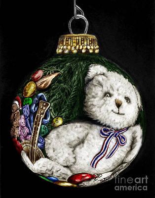 Christmas Bear Ornament Colored Print by Peter Piatt