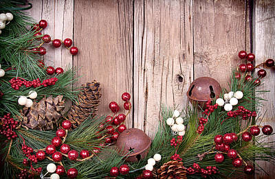 Christmas Berries On Wooden Background Print by Jennifer Huls