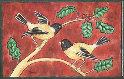 Sisters Painting - Christmas Birds by Linda Mears