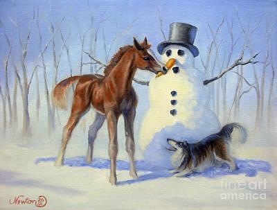 Winter Scene Painting - Christmas Bounty by Jeanne Newton Schoborg