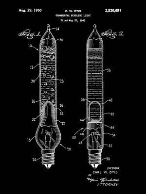 Christmas Bubbling Light Bulb Patent 1945 - Black Print by Stephen Younts