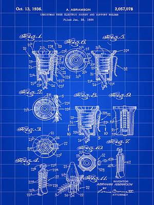 Christmas Bulb Socket Patent 1936 - Blue Print by Stephen Younts