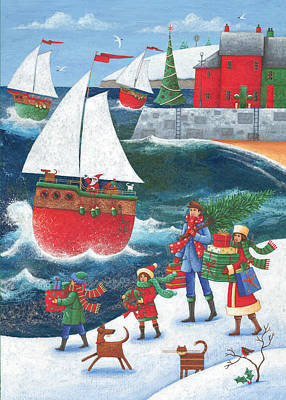 Christmas By The Sea Print by Peter Adderley