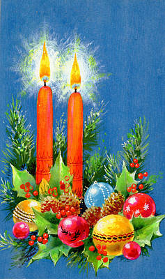 Gouache Painting - Christmas Candles by Stanley Cooke