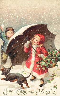 Snowball Fights Painting - Christmas Card by British School