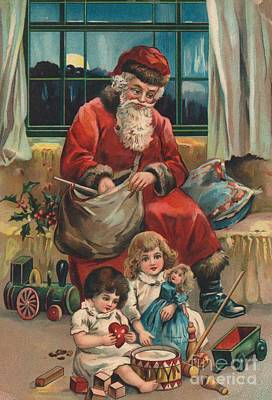 Santa Claus Painting - Christmas Card by French School