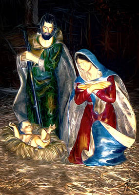 Nativity Digital Art - Christmas Card - Mary And Joseph by Pennie  McCracken