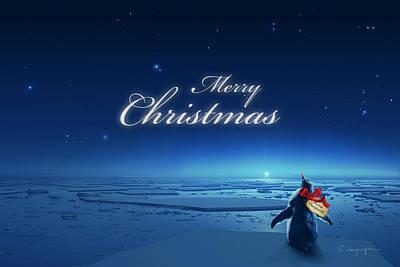 Antarctica Digital Art - Christmas Card - Penguin Blue by Cassiopeia Art