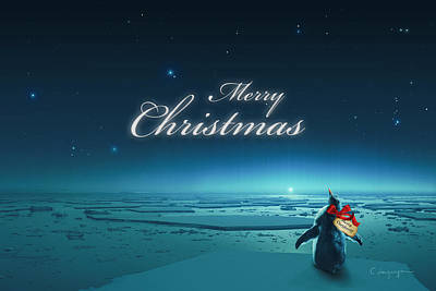 Antarctica Digital Art - Christmas Card - Penguin Turquoise by Cassiopeia Art