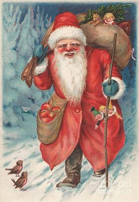 St. Nicholas Painting - Christmas Card  by Russian School