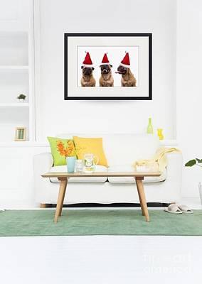 Christmas Caroling Pug Print by Edward Fielding