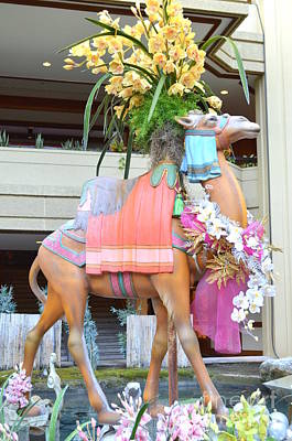 Photograph - Christmas Carousel Camel With Orchids by Mary Deal