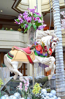 Photograph - Christmas Carousel White Horse by Mary Deal