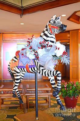 Photograph - Christmas Carousel Zebra by Mary Deal