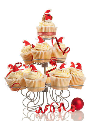 Christmas Cupcakes On Stand Print by Amanda And Christopher Elwell