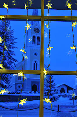 Vorarlberg Photograph - Christmas Decoration - Yellow Stars And Blue Church by Matthias Hauser